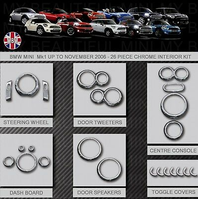 BMW MINI MK1 Cooper-S-0NE R50 R52 R53 CHROME INTERIOR DIAL TRIM KIT 25pc