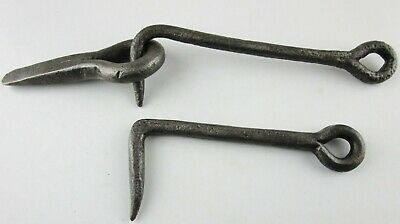 Old Hand Forged Cast Iron Barn Shed Gate Door Latch Hooks w/Eye Rustic