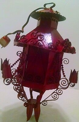 "Outdoor Lantern Light Fixture Wrought Iron French Ornate Burgundy 17"" Antique"