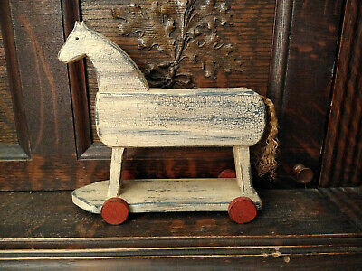Primitive Antique Vintage Style Wood Toy Horse On Wheels