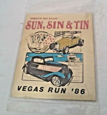Snsra's 15Th Annual Sun Sin & Tin Las Vegas Run 1986 Auto Show Mini Metal Plaque