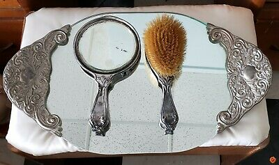 vintage vanity dresser set Tray brush and mirror
