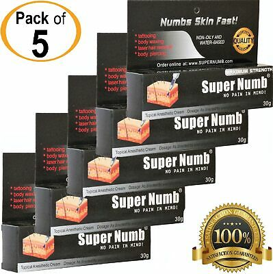 PACK-5 x 30g SUPER NUMB Numbing Cream Tattoo Piercing Waxing Laser Microblading