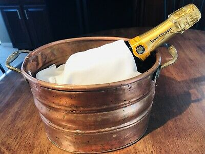 Vintage French Hand-hammered Solid Copper Bronze Handle Champagne Bucket.