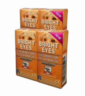 Cataract Eye Drops for Dogs and Pets Ethos Bright Eyes 4 Boxes 40ml