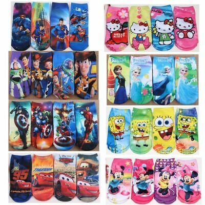 Kids Boy Girls Cartoon Polyester Socks Soft Sport Ankle Trainer Childrens New