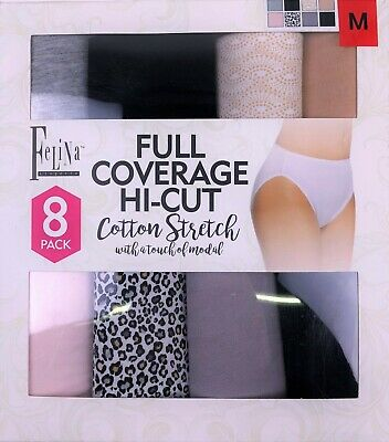 342fc57fb7c9 FELINA LADIES' FULL Coverage Hi-Cut Panty 8-pack Size Medium ...