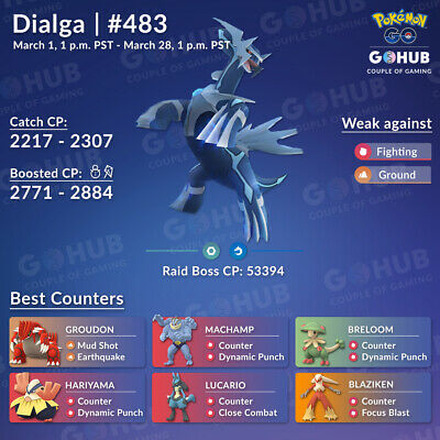 Pokemon Go LEGENDARY Catching - Boosted/Non Dialga High CP - safe - by hand