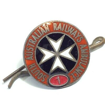 South Australian Railways Ambulance Sterling Silver Badge
