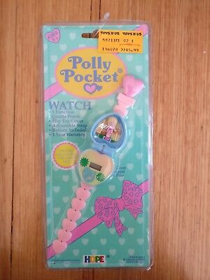 Vintage Polly Pocket watch pink and blue new and sealed complete