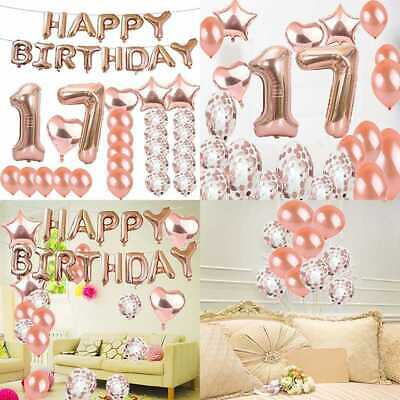 Sweet 17Th Birthday Decorations Party Supplies ROSE GOLD Number 17 Balloons Foil