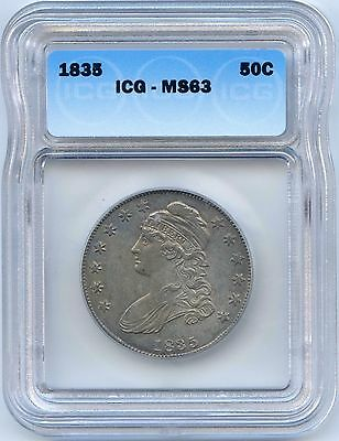 1835 50C Capped Bust Silver Half Dollar. ICG Graded MS 63. Lot #2226