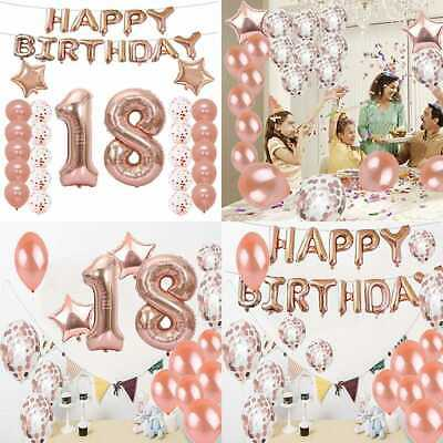 18Th Birthday Decorations Party Supplies Balloons ROSE GOLD Number 18 Mylar Ball
