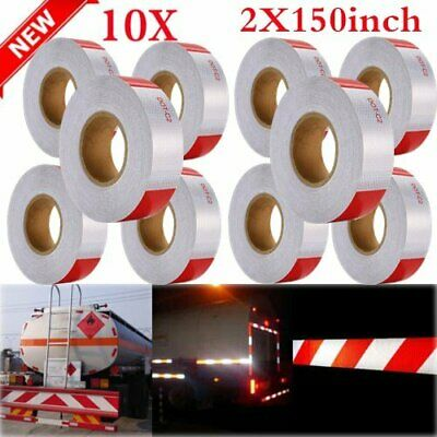 """10PACK 2""""x150' Red+White Reflective Conspicuity Car Safe Tape Approved DOT-C2 EK"""
