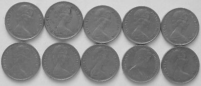 10 x 1970 5c Average circulated 5 cent(LotE1018p)Free Registered Postage
