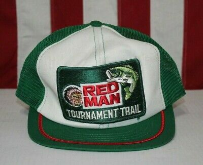 b85e15734b7 VTG Red Man Tobacco Hat Tournament Trail Bass Fishing Trucker Snapback Cap  USA