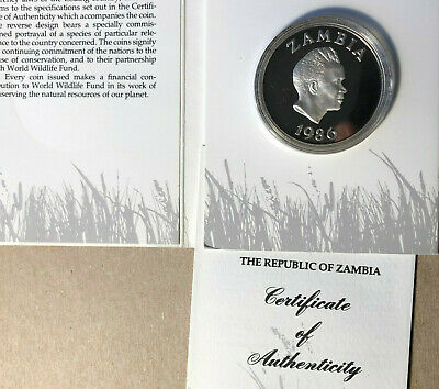 1986 Zambia 10 Kwacha World Wildlife Fund Silver Proof Coin Sealed w/ COA