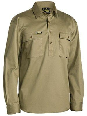 NEW BISLEY Closed Front Cotton Drill Shirt - Long Sleeve Khaki 5XL BSC6433