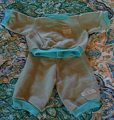 Cabbage Patch Kid clothes 17-18 doll Aqua Blue gray sweatsuit cat Vintage UNISEX