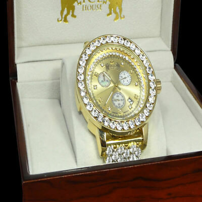 Genuine Diamond Full Iced Out New 14k Gold Tone Big Stone Bezel XL Men's Watch