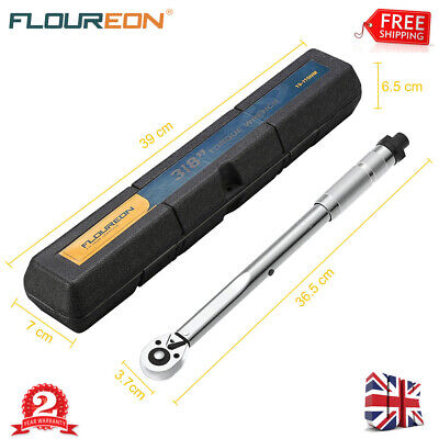 """3//8/"""" DRIVE TORQUE WRENCH I8085 CHROME STEEL RATCHET TOOL CASE 19-110NM"""