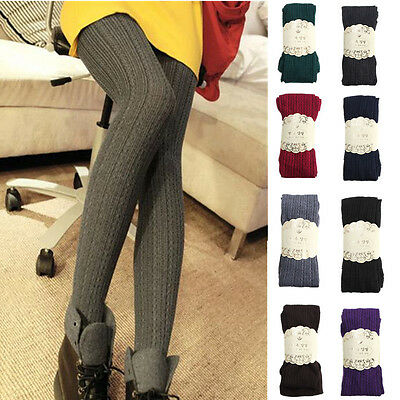 Girls Womens Cable Knit Sweater Footed Tights Stretch Solid Stockings Pantyhose