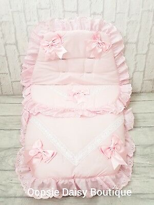 Baby Girls Pink Luxury Large Ribbon Foot Muff Cosy Toes Pram Nest