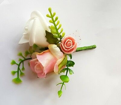 Pink  and nude variegated triple rosebuds wedding boutonnieres groom bestmen