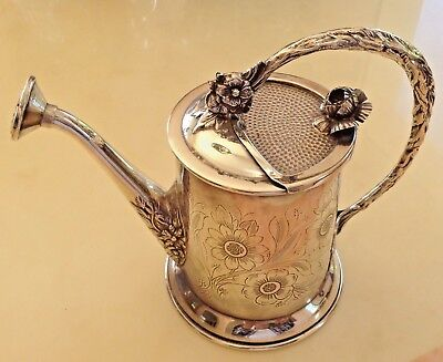 Rare Sterling Silver Centerpiece Flowers Watering Can & Pitcher !