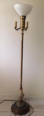 Antique 1930s Torchiere Candelabra Floor Lamp Art Deco Lighted Marble base EUC