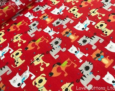 RED CARTOON CATS AND DOGS PRINT POLYCOTTON FABRIC 112cm WIDE PER METRE