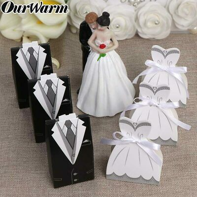 100x Bride & Groom Sweets Candy Box + Ribbon Wedding Favors Gifts Box for Guests