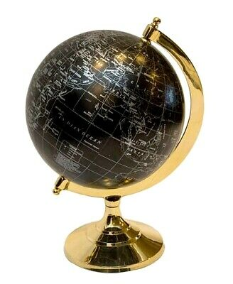 "Beautiful Brass World Globe On One Leg Stand Hand Made Table Desk 12""H"
