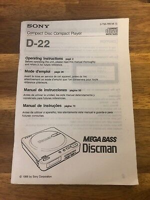 Sony D-22 Compact Disc Player Discman Manual
