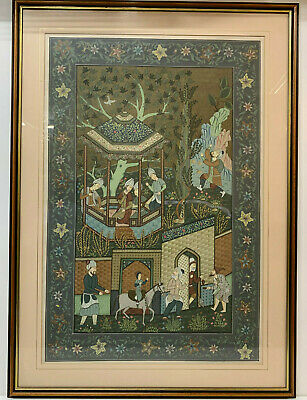 Antique Indo Persian Silk Wall Hanging Court Life Picture Islamic hand Painted