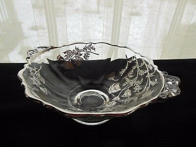 "Vintage Clear Glass with Silver Overlay Floral Design Footed Handled 7"" Bowl"