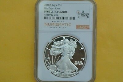 2018-S Proof $1 American Silver Eagle NGC PF69 UCAM FIRST DAY OF ISSUE- ANA