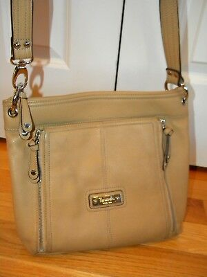 f66cb44285 TIGNANELLO tan leather organizer slim cross body shoulder bag purse ~ XLNT