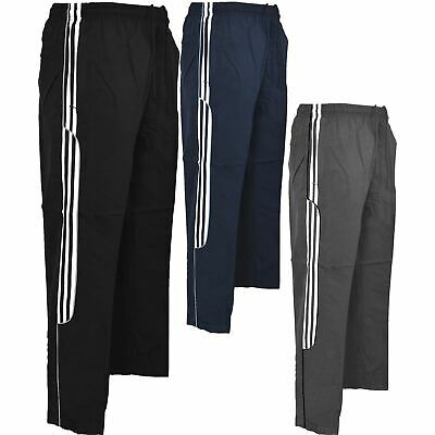 New Mens Tracksuit Bottoms Striped Jogging Trousers Sport Gym Pants Zip Pockets
