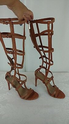 6ef86745a20a BCBGMaxazria NEW Womans Pike Gladiator Cage Heel Sandals Camel Size 6 6M NIB