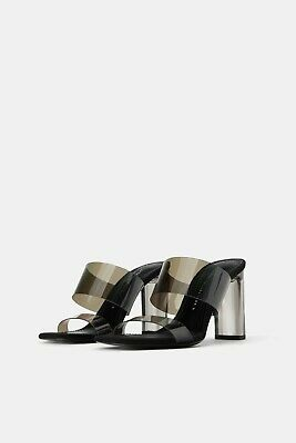 9a2eca9d138 Zara New Vinyl Sandals With Methacrylate Heels Black Transparent Size Uk 2-9