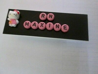 Id Name Tag Badge Magnet Or Pin Back Hello Kitty,teacher,nurse,office Pediatric