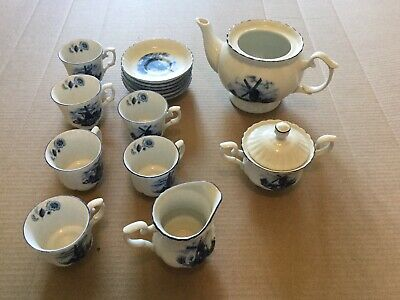 Holland Vintage Tea Set Ter Steege bv Delft Blue 16 Piece - Almost Complete