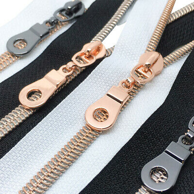 Rose Gold Continuous Nylon Coil #5 Zip, Black and White n5 Rose Gold zipper