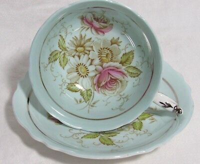 Vintage Paragon Blue Tea Cup & Saucer Fine Bone China England Pink Roses & Daisy