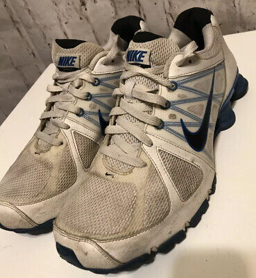 designer fashion ed0b2 e8712 NIKE SHOX size 10 White   Blue leather lace up sneakers Agent