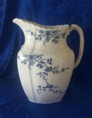 "Large W.H. Grindley & Co England, ""MISSOURI"" Pitcher, Blue and White"