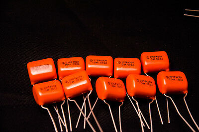 10 PCs SPRAGUE 225P .1uf 400V Film capacitor 0.1uF 104 Orange Drop CDE Guitar