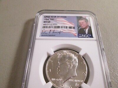 1964 Kennedy Half Dollar Silver 1St Year Issue  Ngc Ms64      035