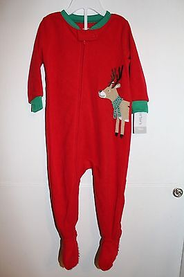 Nwt Carters Baby Boy Girl Holiday Footed Red Green Reindeer Sleeper Pajamas  18 M 015f57d6e